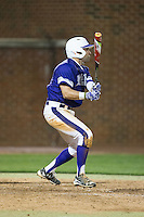 Tim Mansfield (3) of the High Point Panthers follows through on his swing against the NJIT Highlanders during game two of a double-header at Williard Stadium on February 18, 2017 in High Point, North Carolina.  The Highlanders defeated the Panthers 4-2.  (Brian Westerholt/Four Seam Images)
