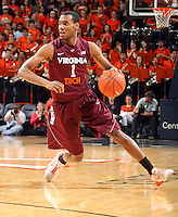 Virginia Tech guard Robert Brown (1) handles the ball during the game Tuesday in Charlottesville, VA. Virginia defeated Virginia Tech73-55.