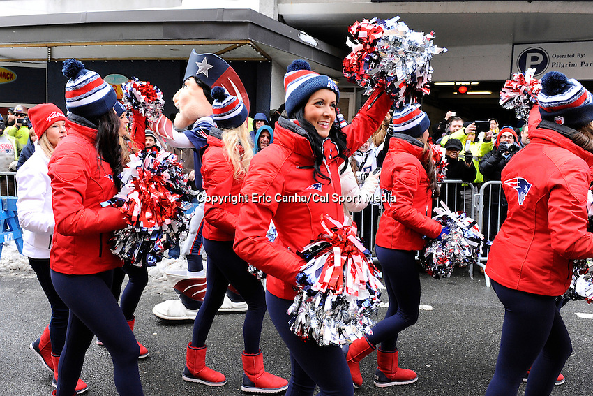 February 4, 2015 - Boston, Massachusetts, U.S. -  The New England Patriots Cheerleaders get ready for a parade held in Boston to celebrate the team's victory over the Seattle Seahawks in Super Bowl XLIX. Eric Canha/CSM