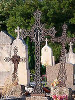 France, FRA, Beaujolais, Fleurie, 2010Aug15: Grave crosses on the Fleurie graveyard.