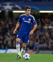 Oscar of Chelsea on the ball during the UEFA Champions League match between Chelsea and Maccabi Tel Aviv at Stamford Bridge, London, England on 16 September 2015. Photo by Andy Rowland.