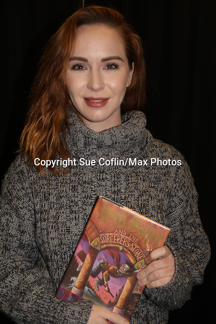 The Young and The Restless Camryn Grimes holds a Harry Potter and the Sorcerer's Stone which is a first edition from a fan on February 16, 2019 for a fan q & a, meet and great with autographs and photo taking hosted by Soap Opera Festival's Joyce Becker at the Hollywood Casino in Columbus, Ohio. (Photo by Sue Coflin/Max Photos)