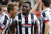 Grimsby Town's Akwasi Asante celebrates scoring the second during the Sky Bet League 2 match between Leyton Orient and Grimsby Town at the Matchroom Stadium, London, England on 11 March 2017. Photo by Carlton Myrie / PRiME Media Images.
