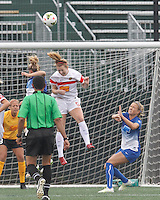 city}, Massachusetts - June 28, 2015:  In a National Women's Soccer League (NWSL) match, Western New York Flash (white) defeated Boston Breakers (blue), 2-0, at Soldiers Field Soccer Stadium.