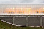 September 9, 2014. Research Triangle Park, North Carolina.<br />  The outside of the greenhouse is encased in haze glass that eliminated almost all shadows within the growing rooms to allow for a more even sun coverage of the plants.<br /> The Syngenta Advanced Crop Lab is nearly one acre of advanced agricultural research under glass. The lab is capable of maintaining many different environments under its roof, allowing scientists to test the effects of various environmental elements on different crops and plants side by side.