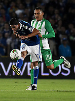 BOGOTÁ - COLOMBIA, 11-01-2019: Cristian Marrugo (Izq.) jugador de Millonarios disputa el balón con Aldo Leao Ramírez (Der.) jugador de Atlético Nacional, durante partido entre Millonarios y Atlético Nacional, por el Torneo Fox Sports 2019, jugado en el estadio Nemesio Camacho El Campin de la ciudad de Bogotá. / Cristian Marrugo (L) player of Millonarios vies for the ball with Aldo Leao Ramirez (R) during a match between Millonarios y Atletico Nacional, for the Fox Sports Tournament 2019, played at the Nemesio Camacho El Campin stadium in the city of Bogota. Photo: VizzorImage / Luis Ramírez / Staff.