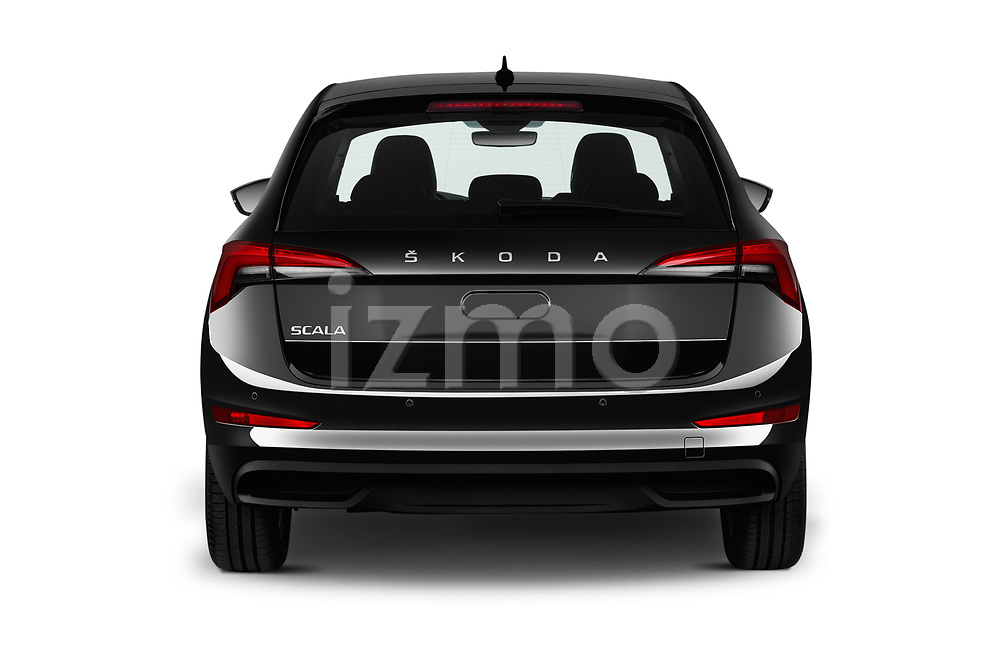 Straight rear view of a 2019 Skoda Scala  Ambition 5 Door Hatchback stock images
