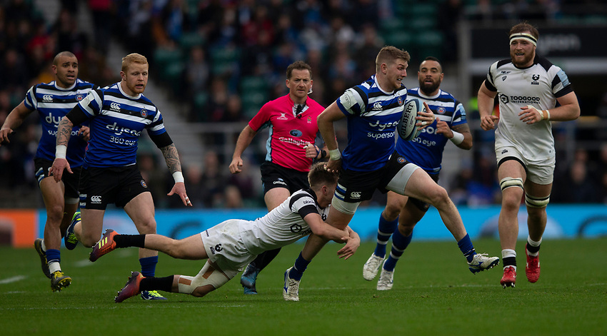 Bath Rugby's Ruaridh McConnochie in action during todays match<br /> <br /> Photographer Bob Bradford/CameraSport<br /> <br /> Gallagher Premiership - Bath Rugby v Bristol Bears - Saturday 6th April 2019 - The Recreation Ground - Bath<br /> <br /> World Copyright © 2019 CameraSport. All rights reserved. 43 Linden Ave. Countesthorpe. Leicester. England. LE8 5PG - Tel: +44 (0) 116 277 4147 - admin@camerasport.com - www.camerasport.com