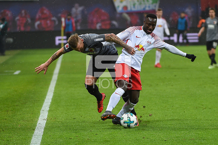 - ,  , and of  left  Jonathan Schmid (FC Augsburg #17) and Naby KEITA (RB Leipzig #8)<br /><br /><br /><br />, RB Leipzig - FC Augsburg, Football, Bundesliga, 09.02.2018 *** Local Caption *** &copy; pixathlon
