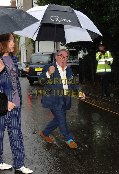 RONNIE CORBETT .Attending David Frost's Summer Party, at Sir David Frost's private residence in London, England, July 9, 2008..full length blue suit umbrella raining brown shoes pinstripe.CAP/WIZ.©Wizard/Capital Pictures
