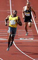Photo: Richard Lane/Richard Lane Photography..Aviva World Trials & UK Championships athletics. 10/07/2009. Harry Aikines Aryeetey in a men's 100m heat.