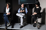 (L-r) Photographers Ashley Gilbertson and Ron Haviv of the VII Photo Agency sit on a panel with Jennifer Choi, a Program Officer in the Documentary Program at the Robert R. McCormick Foundation on the VII Evolution Tour at Abel Cine in the Douglass Park neighborhood of Chicago, Illinois on October 17, 2015.