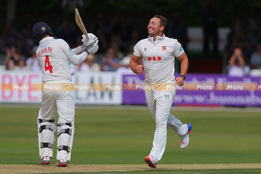 Graham Napier of Essex celebrates taking the wicket of Jacques Rudolph during Essex CCC vs Glamorgan CCC, Specsavers County Championship Division 2 Cricket at the Essex County Ground on 12th September 2016