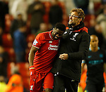 Kolo Toure of Liverpool and Jurgen Klopp manager of Liverpool enjoy the win - English Premier League - Liverpool vs Manchester City - Anfield Stadium - Liverpool - England - 3rd March 2016 - Picture Simon Bellis/Sportimage