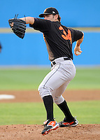 June 20, 2008: RHP Jake Arrieta (34) of the Frederick Keys, Carolina League affiliate of the Baltimore orioles, in a game against the Potomac Nationals at G. Richard Pfitzner Stadium in Woodbridge, Va. Photo by:  Tom Priddy/Four Seam Images