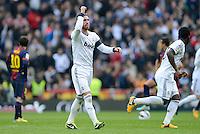 FUSSBALL  INTERNATIONAL  PRIMERA DIVISION  SAISON 2012/2013   26. Spieltag  El Clasico   Real Madrid  - FC Barcelona        02.03.2013 JUBEL, Sergio Ramos (Real Madrid) nach seinem Tor zum 2-1 Sieg