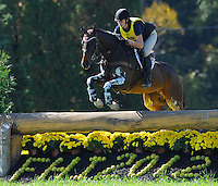 Smarty Pants, with rider Kelly List (CAN), competes during the Cross Country test during the Fair Hill International at Fair Hill Natural Resources Area in Fair Hill, Maryland on October 20, 2012.
