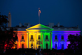 The White House in Washington, D.C., U.S. is illuminated with rainbow light on Friday, June 26, 2015 following the U.S. Supreme Court ruling in favor of same-sex marriage. Voting 5-4, the Supreme Court justices ruled that states lack any legitimate reason to deprive gay couples of the freedom to marry. <br /> Credit: Drew Angerer / Pool via CNP
