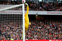 Thomas Heaton of Aston Villa tips a shot over during the Premier League match between Arsenal and Aston Villa at the Emirates Stadium, London, England on 22 September 2019. Photo by Carlton Myrie / PRiME Media Images.