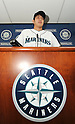 Hisashi Iwakuma (Mariners),.JANUARY 29, 2012 - MLB :.Seattle Mariners new signing pitcher Hisashi Iwakuma during his introductory press conference at Safeco Field in Seattle, Washington, United States. (Photo by AFLO)