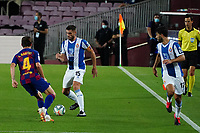8th July 2020; Camp Nou, Barcelona, Catalonia, Spain; La Liga Football, Barcelona versus Espanyol;  David Lopez looks to lay off a pass under pressure by Rakitic of Barca