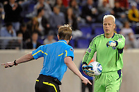 Sporting Kansas City goalkeeper Jimmy Nielsen (1) looks for a call from referee Andrew Chapin. The New York Red Bulls defeated Sporting Kansas City 1-0 during a Major League Soccer (MLS) match at Red Bull Arena in Harrison, NJ, on April 30, 2011.