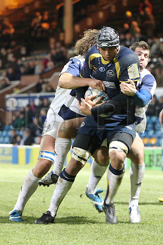 12.11.2010 Amlin Challenge Cup Rugby Union. Leeds Carnegie v Crociati. Marco Wentzel gets tackled just short of the line