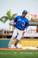 Toronto Blue Jays center fielder Darrell Ceciliani (9) running the bases during a Spring Training game against the Pittsburgh Pirates on March 3, 2016 at McKechnie Field in Bradenton, Florida.  Toronto defeated Pittsburgh 10-8.  (Mike Janes/Four Seam Images)