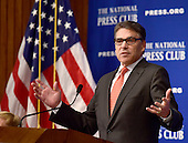 """Former Governor Rick Perry (Republican of Texas), a candidate for the 2016 Republican Party nomination for President, speaks on """"The cycle of hopelessness and lost opportunity that many Americans feel trapped in"""" at the National Press Club in Washington, D.C. on Thursday, July 2, 2015.<br /> Credit: Ron Sachs / CNP"""