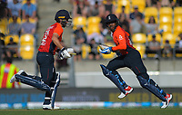 England's Lewis Gregory and Chris Jordan. International cricket match between NZ Black Caps and England at Westpac Stadium in Wellington, New Zealand on Sunday, 3 November 2019. Photo: Dave Lintott / lintottphoto.co.nz