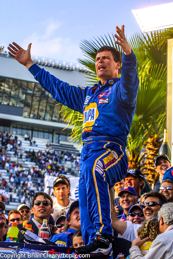 Michael Waltrip celebrates in victory lane after winning the,Daytona 500, Daytona International Speedway, Daytona Beach, FL, February 18, 2001.  (Photo by Brian Cleary/ www.bcpix.com )