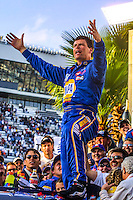 Michael Waltrip celebrates in victory lane after winning the,Daytona 500, Daytona International Speedway, Daytona Beach, FL, February 18, 2001.  (Photo by Brian Cleary/ www.bcpix.com )