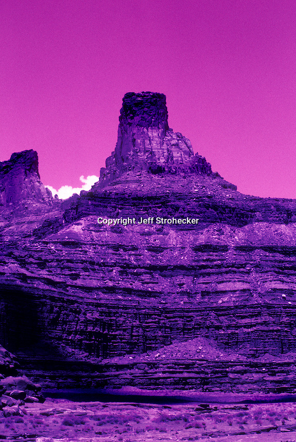 Color infrared image of desert canyon terrain from isolated area of Canyon Lands, Utah in 2004.