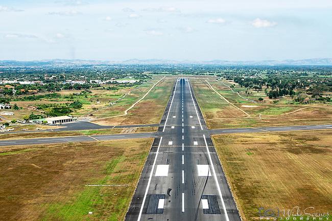 Aerial of the runway at Nadi International Airport on Viti Levu, Fiji