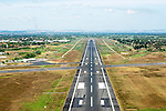 Aerial of the runway at Nadi International Airport on Viti Levu, Fiji
