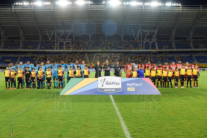 PEREIRA- COLOMBIA, 18-02-2020:Formación del Deportivo Pereira ante Jaguares de Córdoba durante partido por la fecha 5 de la Liga BetPlay DIMAYOR I 2020 entre Deportivo Pereira  y Jaguares de Córdoba jugado en el estadio Hernán Ramírez Villegas de la ciudad de Pereira. / Team of Deportivo Pereira agaisnt of Jaguares of Cordoba during match for the date 5 as part of BetPlay DIMAYOR League I 2020 between Deportivo Pereira and Jaguares de Cordoba played at Hernan Ramirez Villegas stadium in Pereira  city.Photo: VizzorImage / Mauricio Ortiz / Contribuidor