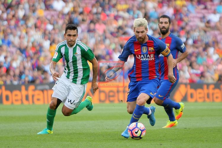 League Santander 2016/2017. Game: 1.<br /> FC Barcelona vs Real Betis: 6-2.<br /> Petros vs Lionel Messi.