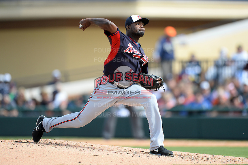 Atlanta Braves pitcher Wirfin Obispo (62) during a spring training game against the Detroit Tigers on February 27, 2014 at Joker Marchant Stadium in Lakeland, Florida.  Detroit defeated Atlanta 5-2.  (Mike Janes/Four Seam Images)
