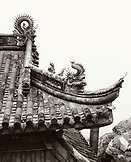 CHINA, Putou Shan, exterior detail of the outside the Fayu Temple at the Cave Of Buddhist Sounds (B&W)