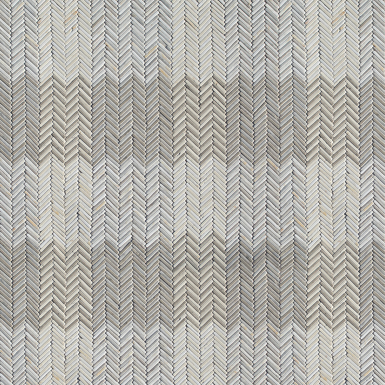 Gingham, a hand-cut tumbled mosaic, shown in Cashmere, Palomar, Bianco Antico, and Cloud Nine, is part of the Tissé™ collection for New Ravenna.