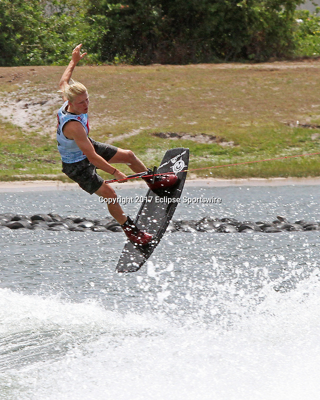 ORLANDO, FL - April 29:  Luca Kidd GBR finishes first in Heat #01 of the semi-finals in the Junior Men's Professional Division and advances to the finals at the WWA Nautique Wake Open 2017 at  the Orlando Watersports Complex on April 29, 2017 in Orlando, Florida. (Photo by Liz Lamont/Eclipse Sportswire/Getty Images)