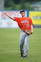 Myles Straw (12) of the Greeneville Astros warms up in the outfield prior to the game against the Kingsport Mets at Hunter Wright Stadium on July 7, 2015 in Kingsport, Tennessee.  The Mets defeated the Astros 6-4. (Brian Westerholt/Four Seam Images)