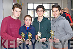 Listry quiz team Niall O'Shea, Fionn Corcoran Chris O'Brien and Brendan O'Mahony U-18 winners of the Youth Clubs quiz at the KDYS in Killarney on Sunday.