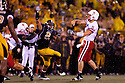 08 October 2009: Nebraska quarterback Zac Lee throws to Niles Paul for the first Nebraska touchdown in the fourth quarter againtst Missouri at at Memorial Stadium, Columbia, Missouri. Nebraska defeated Missouri 27 to 12.