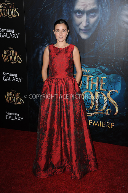WWW.ACEPIXS.COM<br /> December 8, 2014 New York City<br /> <br /> Italia Ricci attending the World Premiere of 'Into the Woods' at the Ziegfeld Theatre on December 8, 2014 in New York City.<br /> <br /> Please byline: Kristin Callahan/AcePictures<br /> <br /> Tel: (212) 243 8787 or (646) 769 0430<br /> e-mail: info@acepixs.com<br /> web: http://www.acepixs.com
