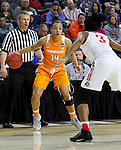 SIOUX FALLS, S.D. MARCH 24: Andraya Carter #14 from Tennessee looks to make a move against Kelsey Mitchell #3 from Ohio St. during their 2016 NCAA Women's Basketball Sioux Falls Regional Semifinal Friday night at the Denny Sanford Premier Center in Sioux Falls, S.D. (Photo by Dave Eggen/Inertia)