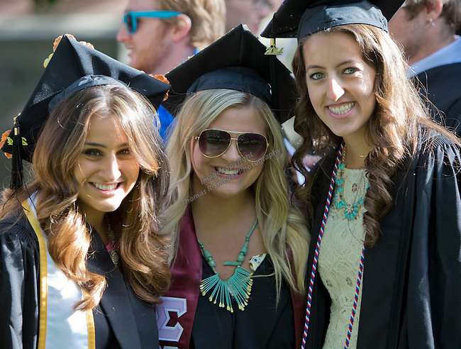 Left to right: Yasi Saderi, Jaclyn Silva and Annie Segale  before the University of Nevada, Reno Spring Commencement Exercises on Saturday morning, May 17, 2014.
