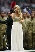 Camilla Kerslake sings the national anthems before the QBE International between England and Fiji at Twickenham on Saturday 10th November 2012 (Photo by Rob Munro)