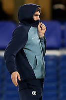 Chelsea's Marcos Alonso looks to be feeling the cold ahead of kick-off during Chelsea vs PAOK Salonika, UEFA Europa League Football at Stamford Bridge on 29th November 2018