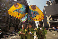 (950422-SWR01.jpg) -  22 April 1995  - New York, NY -- Earth Day New York City. Parade of the Planets. Environmentalists carrying large butterfly kites march up the Avenue of the Americas.